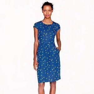 J Crew blue polka dot, cap-sleeve silk dress, 0